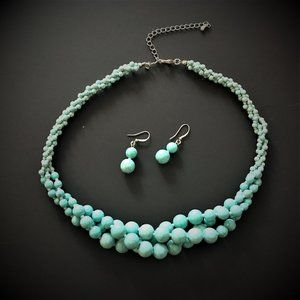 Jewelry - Simulated Turquoise necklace and earrings set